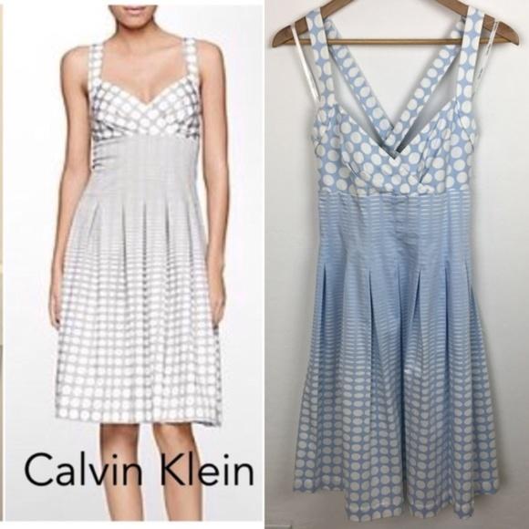 568ee9784f3e4 Calvin Klein Dresses   Skirts -  CK  Ombre Polka Dot Stripe Pleated Halter  Dress